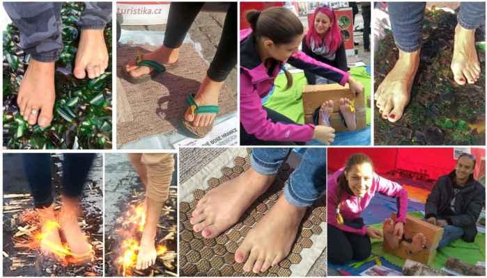 BOSEXTREM - poznej své bosé  hranice - firewalking, glasswalking, hřebíkové boty, lechtání chodidel - www.chuzepoohni.cz Poznej své bosé hranice. Co je větší výzva? Projít se bos po žhavém uhlí, či  střepech, postavit se bosýma nohama na ostré jehličky či vydržet lechtání chodidel?