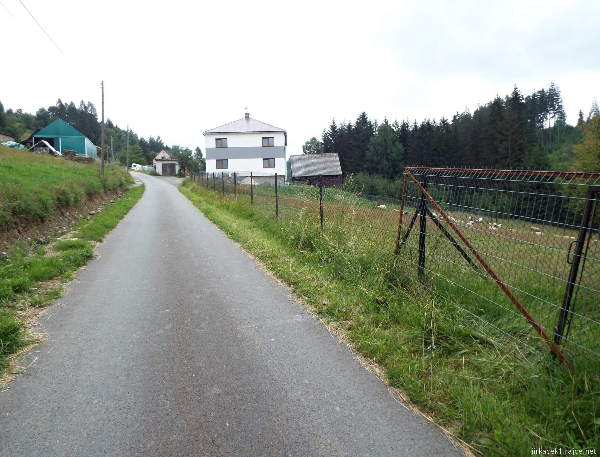 Trojmezí CZ-PL-SK - 21 - cesta na trojmezí - dům u farmy a vpravo ovce
