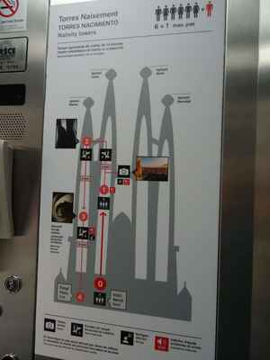 Výtahem a pak po schodech se dá vystoupat na jednu z věží - my jsme zvolili Věž Narození.